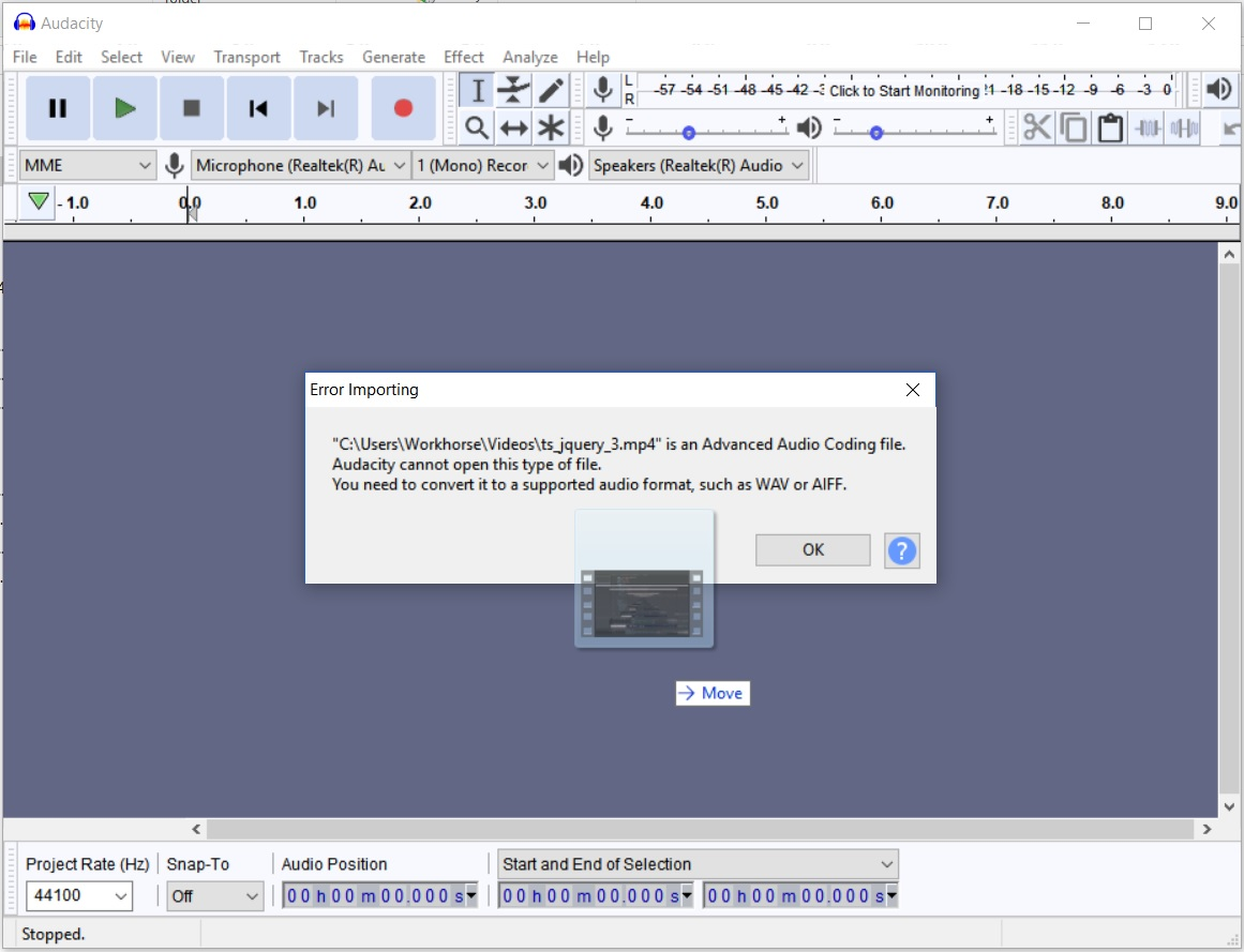 Import Video failed in Audacity