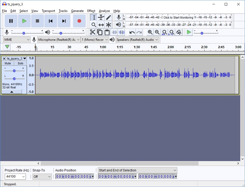 Audacity file import